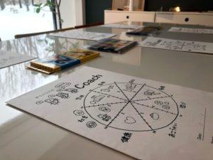 子供向けのプログラム『ひふみコーチング』のテキストとワークに使う色鉛筆が机の上に並んでいる様子。
